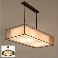 Wholesale Black Suspended Ceiling - American Nordic square fabric ceiling light lamp foyer dinning reading room E27 Semi-flush suspended fabric ceiling lamp light