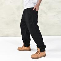 Wholesale Baggy Jeans Fashion - Wholesale-Brand 2016 New Fashion Men Baggy Jeans Big Size Mens Hip Hop Jeans Long Skateboard Relaxed Fit Jeans For Men Harem Black 44 46