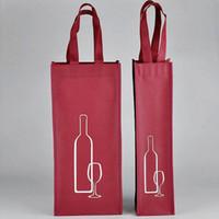 bolsas de regalo de vino de tela al por mayor-Bolsa de almacenamiento portátil de tela no tejida del vino rojo para una / botellas dobles Paquete de vino Fiesta de regalo Bolsos de embalaje ZA3538