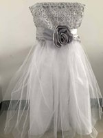 Wholesale Wedding Dress Wholesalers Europe - Organza Wedding Chair Covers With Flower Tie Chair Dresses Chair Sashes Party Banquet Chair Covers Wedding Accessories Home Shop Decoration