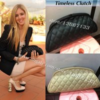 Wholesale Quilted Leather Clutch - 2018 Women's Black Caviar Timeless Clutch 2018 Fashion Evening Bag Apricot Lambskin Quilted Clutches Female Handbag Purse