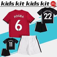 Wholesale Set Boys White - 2018 Kids Kit #6 POGBA home red Soccer Jerseys Child Youth Sets 17 18 Kids Set away balck children Football uniform #19 RASHFORD