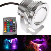 sualtı ledli spotlar toptan satış-10 W Su Geçirmez yüzme havuzu ışıkları LED Sualtı Spot 12 Volt RGB 24 anahtar IR Uzaktan Kumanda ile led ampul