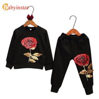 Wholesale Rise Clothing - Wholesale- Fashion Kids Suits Floral Rose Embroidered Sequins Boys Girls Leisure Clothing Sets Baby Sports Wear Children's Sets