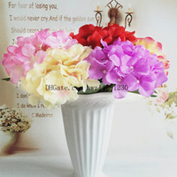 Wholesale Decorating Silk - Duo Fu simulation of a single hydrangea hand holding flowers lover wedding road cited flowers romantic home furnishings decorated flowers