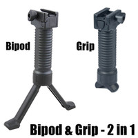 Wholesale Tactical Vertical Fore Grip - Tactical Vertical Fore-Grip with Retractable Spring Loaded Bipod Black