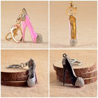 Wholesale Wholesale High Heel Shoe Keyring - Crystal High-Heeled Shoes Keychain Key Chain Key Ring Holder Car Keyring Porte Clef Souvenirs Bag Pendant Mix Style Free DHL F936L