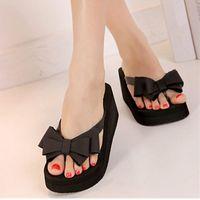 Wholesale Wholesale High Heel Slippers - Wholesale- 2015 New Fashion Summer Women Platform High Heel Flip Flops Beach Sandals Bowknot Slippers Women Shoes Size6.0-7.5 For Choice
