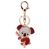 Wholesale Cute Sloth - 2017 fashion cute sloth imitation diamond key chains color alloy bells penden bohemia girl pendant creative key chains for women jewelry