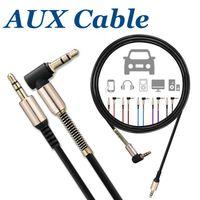 cable micro usb para auriculares al por mayor-Aux Audio Auxiliary Cable 3FT / 1M 3.5mm Macho a Macho Cable de Audio Cable en forma de L Audio Jack de Auriculares de Audio de Ángulo Recto sin Paquete