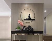 ingrosso arte astratta porcellana-Promozione Offerta speciale religiosa Cina Handmade astratto asiatico metallo ferro Wall Art Budha per soggiorno di decorazioni per la casa