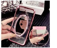 Espejo Con Incrustaciones Baratos-Rhinestone TPU Mobile Phone Back Covers Sets Mirror Thin Inlaid Diamonds Slim Design Lujo y exquisito Thinner Mirror