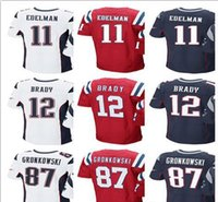 Wholesale England Home Jersey - Men's New England Jersey Patriot 12 Tom Brady jersey 87 Rob Gronkowski 11 Julian Edelman Rush Home Jimmy Garoppolo Brandin Cooks Jerseys