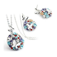 Wholesale Costume Jewelry Butterfly Necklace - DHL Sliver Plated Crystal African Fashion Costume Jewelry Sets for Women Butterfly Pandant Necklace Earrings Sets New Arrival