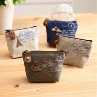 Wholesale cheapest purses - Wholesale- Ladies Cheapest Canvas Classic Retro Small Change Coin Purse Little Key Car Pouch Money Bag,Girl's Mini Short Coin Holder Wallet