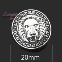 Wholesale Wholesale Lion Necklaces - High quality lion 085 18mm 20mm rhinestone metal button for snap button Bracelet Necklace Jewelry For Women Silver jewelry