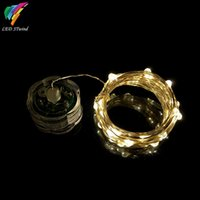 Wholesale String Tea Light - (10PCS Lots) 20 LEDs Flower MINI Candle Tea String Silver Color Copper Wire Garland CR2032 Battery IP65 Waterproof Light