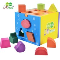 Wholesale Wood Box Building - 1 PC Colorful 13 holes intelligence box Shape matching toy building blocks baby educational toys kids early learning toys Kids Gift