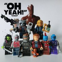 Wholesale Dc Action - 9pcs Guardians of the Galaxy Marvel DC Building Blocks Groot Super Heroes Avengers Action Figures ronan camora drax destroyer nebula
