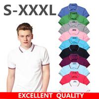 camisas de malla masculina al por mayor-Marca bordado 10 colores Nueva Camisa de Polo de Malla Para Hombre de Manga Corta Sólida Ocasional de Algodón Masculino Polo Camisas Marca de Ropa