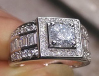 Wholesale Round Cut Diamond Engagement Rings - Fine Luxury SZ8 9 10 11 12 13 Luxury jewelry Brand 10kt white gold filled white topaz Round cut wedding Engagement men ring for mother's day