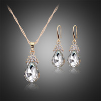 Wholesale Teardrop China - Wedding Jewelry Sets For Brides Teardrop Stud Earrings Necklace Set Flower Pear CZ Diamond necklace earring Women's Day 162048