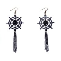 Dangle & Chandelier spider plant flowers - Handmade Gothic Spider Web Design Lace Drop Earrings Vintage Black Long Tassel Dangle For Women Party Accessories