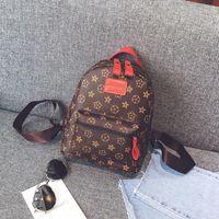 Wholesale Leather School Bag Retro - Casual PU Leather Backpacks For Teenage Girls Backpack Women Floral Retro Mochila Escolar Shoulder Bag Designer School Bags Bolsa