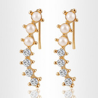 Wholesale Ear Cuffs Pearls - Fashion Hot sale Women Gold Color simulated Pearl Shining Crystal Earring Cuff Ear Clips Earring Jewelry HZ