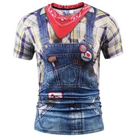 Wholesale Women Stylish Jeans - 3D T shirts Fashion 3d T-shirt Men women Summer Tops Tees Print Fake Plaid Shirts Jeans T shirt Stylish Tees Shirts