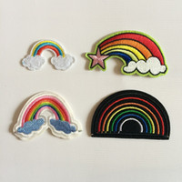 Wholesale Iron Heat Transfers Wholesale - Fabric Artificial Rainbow Patch Heat Transfer Embroidery Clothes Patches,Sew On,Iron On Appliques For Clothing,Backpack