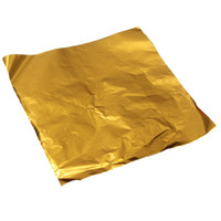 Vente en gros - 100pcs Square Sweets Candy Chocolate Lolly Paper Aluminium Foil Wrappers Gold