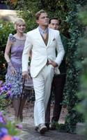 Wholesale Orange Dress Pants For Men - Sell like hot cakes! The Great Gatsby Dress White Suit for Groom Men Wedding Tuxedo Suits Custom