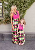 Wholesale Blue Mother S Dresses - Family Matching Mother Daughter Dresses Clothes Striped Mom and Daughter Dress Kids Parent Outfits Ankle-Length Mother & Kids Clothes