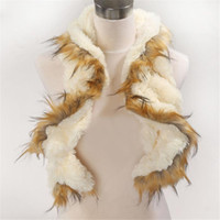 Wholesale Scarf Fashion Promotion - Promotion fashion winter double Long section wavy wolf hair scarf girl women luxury fur scarf neck sets.