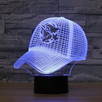 Wholesale Table Lamps For Children - Free Shipping 3D LED Sport Shape Illusion USB Table LightTouch 7 Colors Toronto Blue Jays Lampara Desk Lamp For Children Kids Nightlight