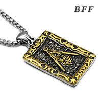 Wholesale Wholesale Jewelry Cast - Men's fashion jewelry cool new design high quality casting stainless steel silver gold masonic pendant necklace with long chain