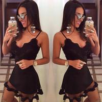 yeni moda net elbiseler toptan satış-Kadınlar Dantel Elbiseler Siyah Parti Vestidos Yaz Spagetti Kayışı Net Iplik Ekleme Tasarım Ince Mini Elbise 2017 Yeni Moda