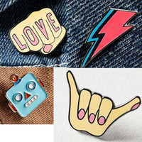 Wholesale Woman Suit Korea - Wholesale- 1PC Korea Lighting Enamel Pin Brooches for Women Cute Love Finger Suit Collar Pins Brooch Clothing Accessories P1325