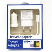 Wholesale S4 Car Charger Retail - 3 in 1 US EU wall charger adapter home travel adapter + bullet car charger + micro usb cable with retail box for samsung S4 S5 S6