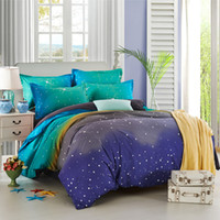 Wholesale Christmas Bedding Sets Queen - Wholesale-Hot Sale Moon Stars Space Design Bedding Sets Wedding Christmas Gift Bedclothes Duvet Cover Set #45