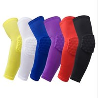 Wholesale Armguard Basketball - 1 pcs Elastic Gym Sports Long Arm Sleeve Support Basketball Shooting Honeycomb Sport Elbow Arm Warmers Pad for Men Armguard pads