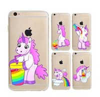 Wholesale Iphone Plastic Cover Baby - For iphone 7 Case 3D Cartoon Unicorn Farting Rainbow Cases Monocerus Fart Horse Baby soft TPU Back Cover for iphone 7 6 6s plus SE 5s 8