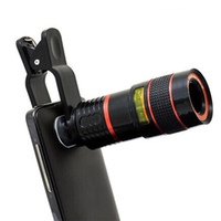 Wholesale Mobile Phones Telescope Camera 12x - unniversal Telescope Lens 8x 12x Zoom Optical Camera Telephoto len with clip for Iphone Samsung HTC Sony LG mobile smart cell phone