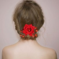 Wholesale Red Bridal Bridesmaids Jewelry - Crystal Red Flower Rhinestone Hair Pins Clips Bridal Bridesmaid Wedding Wholesale Accessories Jewelry Red Lace Pageant Hair Jewelry