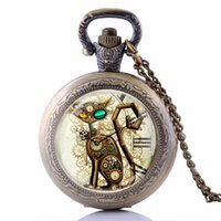 Wholesale Steampunk Lockets - Wholesale-Bronze Vintage Steampunk Cat Locket Necklace Pocket Watch Pendant Gift P2129
