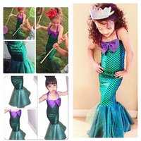 2017 Gils Dress Kids Ariel Little Mermaid Set Девушка Принцесса Платье Cosplay Cosplay
