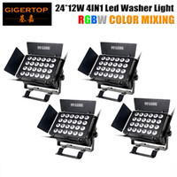 4Pcs / Lot New Led Wall Washer Light, 24 x 12W 4IN1 RGBW / RGBA Color Mixing Big Led Washer Stage Light, DMX 512 8 Canais Uso interno