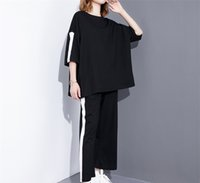 Wholesale Wide Leg High Waisted - 2017 Spring Summer Fashion New Black Red O-neck Set Leisure Suit Stripe Wide Leg Pants Twinset Woman E02001