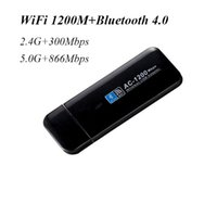 red inalámbrica de escritorio al por mayor-Venta al por mayor Mini USB 1200Mbps Wi-Fi 802.11ac inalámbrico Bluetooth 4.0 wifi adaptador de red wi fi adaptador 2.4G 5.0G para PC de escritorio